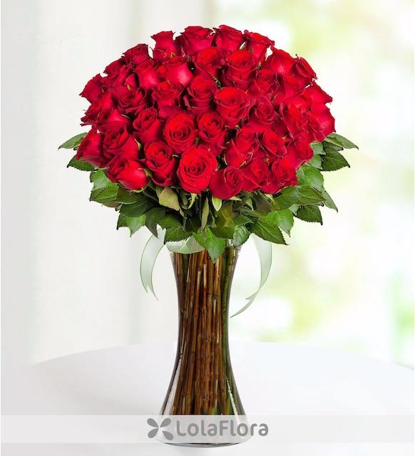 41 Rosas Rojas Frescas De Tallo Largo En Distinguido Florero