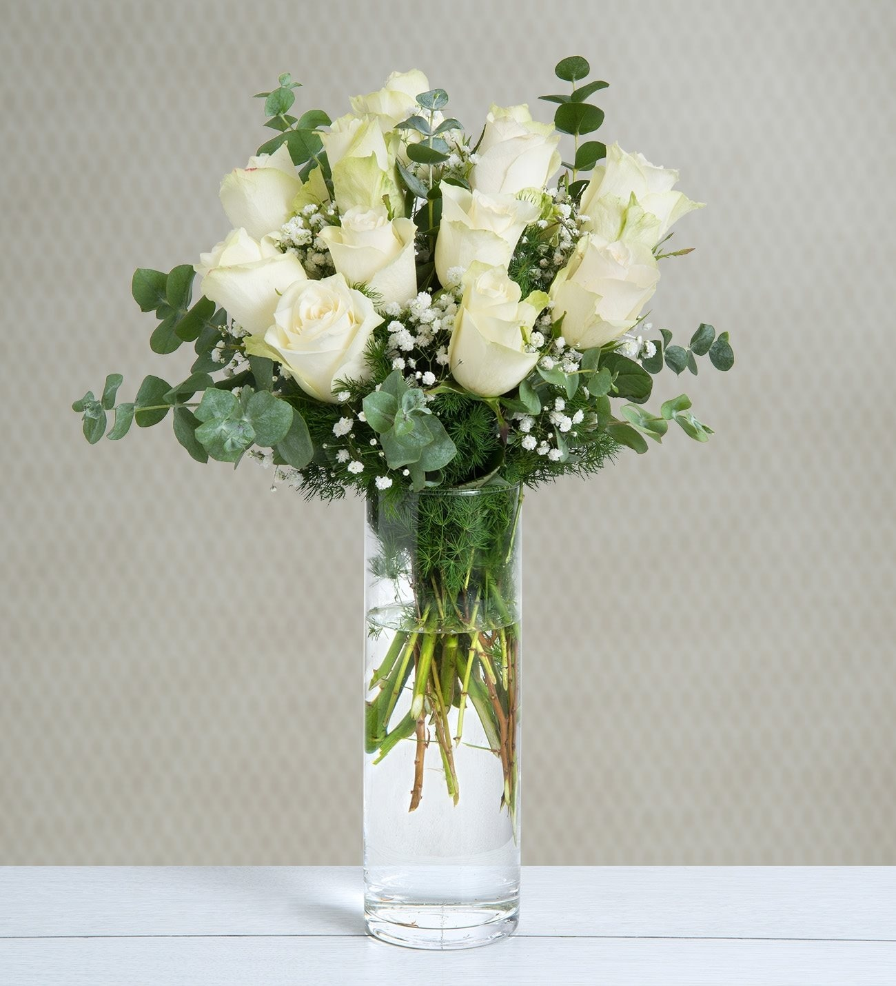 12 Rosas Blancas Docena De Nubes