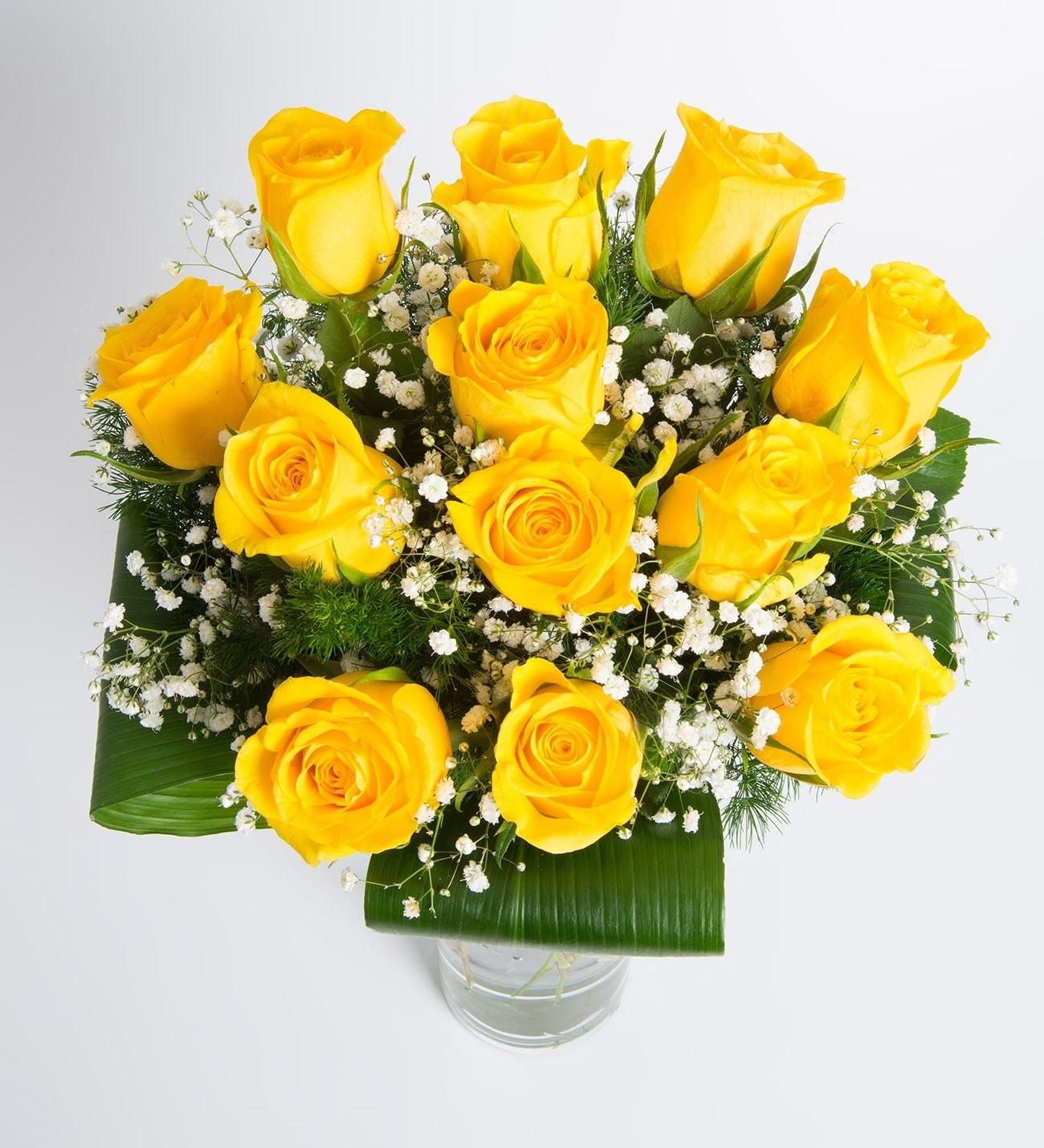 Feliz cumpleanos rosas amarillas
