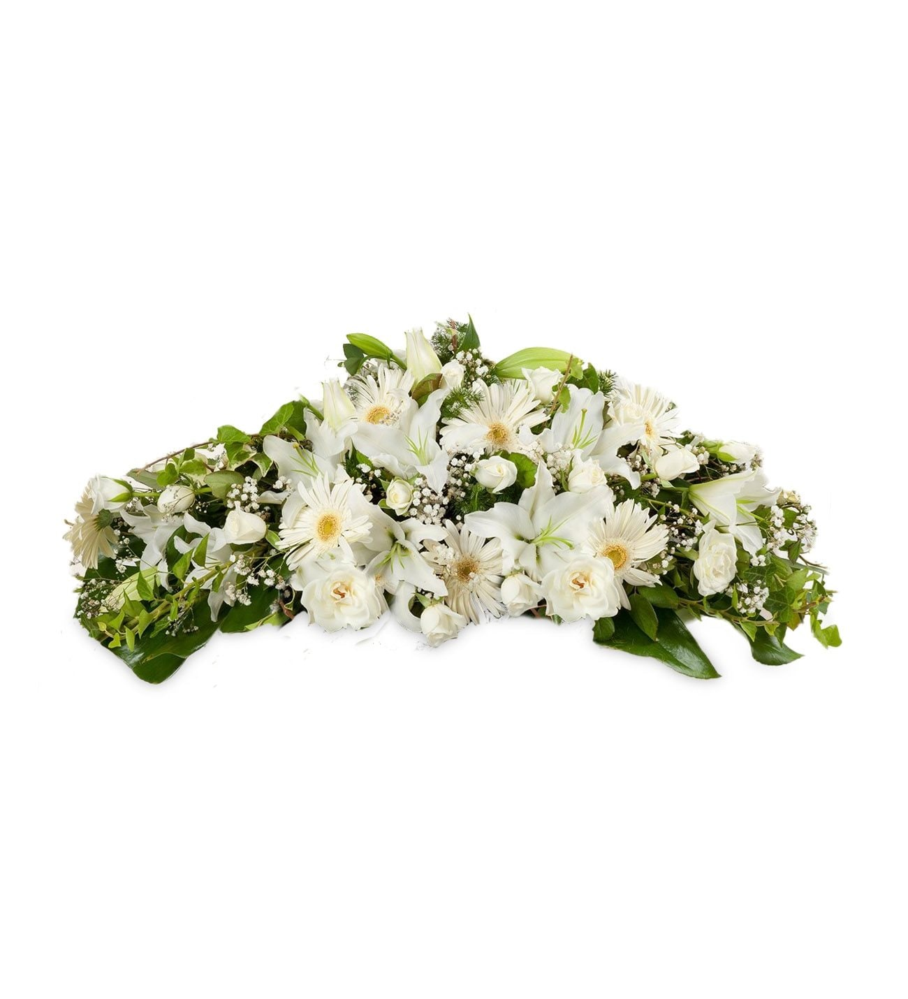 White Flower Funeral Coffin Casket Lolaflora