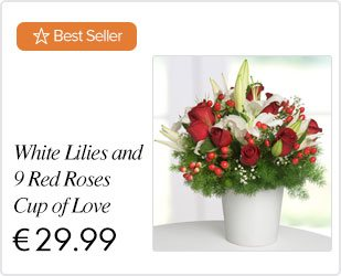 White Lilies and 9 Red Roses